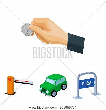 Car, parking barrier, bicycle parking place, coin in hand for payment. Parking zone set collection icons in cartoon style vector symbol stock illustration .