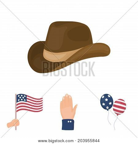 Balloons, national flag, cowboy hat, palm hand.Patriot day set collection icons in cartoon style vector symbol stock illustration .