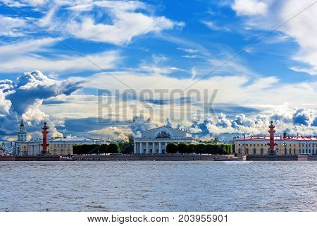 ST.PETERSBURG/RUSSIA - JULY 20, 2017. The arrow of Vasilievsky Island is the eastern extremity of the Vasilievsky Island in St. Petersburg; One of the most interesting architectural ensembles