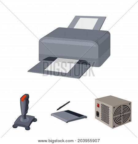 Power unit, hostik and other equipment. Personal computer set collection icons in cartoon style vector symbol stock illustration .