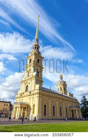 ST.PETERSBURG/RUSSIA - JULY 20, 2017. Cathedral of the Holy Apostles Peter and Paul - the Orthodox Cathedral in St. Petersburg in the Peter and Paul Fortress, the tomb of Russian emperors