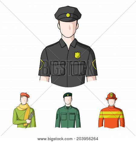 Military, fireman, artist, policeman.Profession set collection icons in cartoon style vector symbol stock illustration .