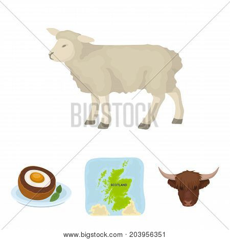 Territory on the map, bull's head, cow, eggs. Scotland country set collection icons in cartoon style vector symbol stock illustration .
