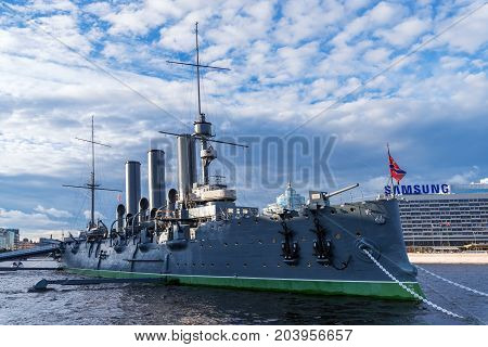 ST.PETERSBURG/RUSSIA - JULY 20, 2017. The famous cruiser Aurora reminiscent of the events of the 1917 revolution in Russia