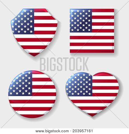 Usa national flag emblem set. Patriotic logo american manufacturing symbols for made in usa labels. Vector illustration