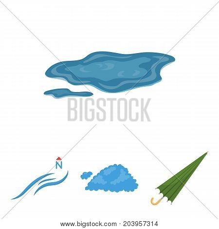 Cloud, umbrella, the north wind, a puddle on the ground. The weather set collection icons in cartoon style vector symbol stock illustration .