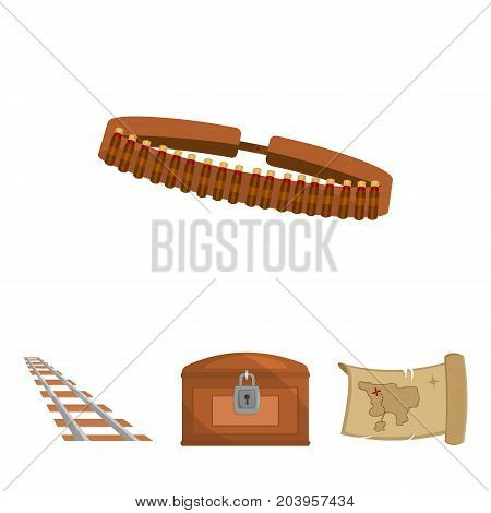 Treasure map, chest, rails, patrol.Wild west set collection icons in cartoon style vector symbol stock illustration .