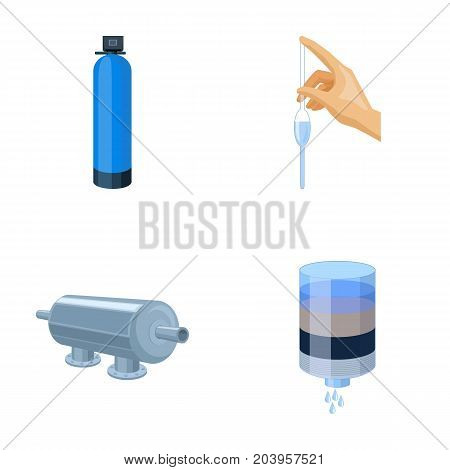 System, balloon, hand, trial .Water filtration system set collection icons in cartoon style vector symbol stock illustration .