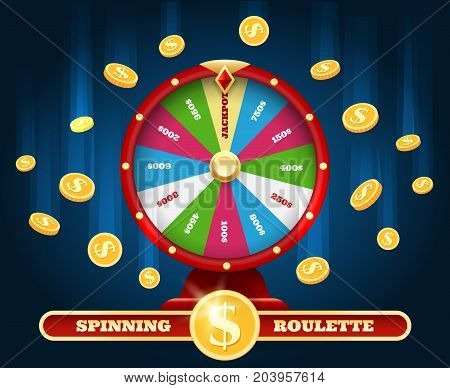 Jackpot lucky wheel and winner money rain. Spinning luck roulette lottery game Winning background vector illustration