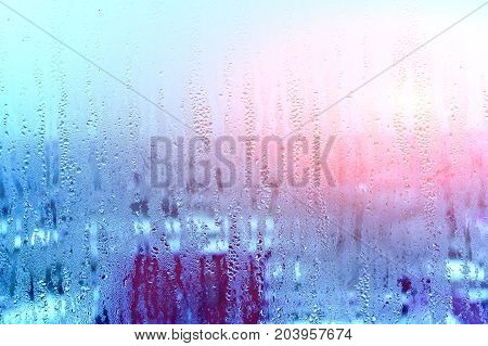 Window Glass With Condensation, Strong, High Humidity In The Room, Large Water Droplets Flow Down Th