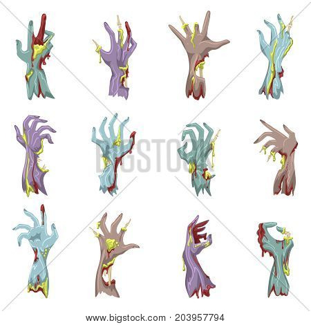 Zombie hand set with gore vector illustration. Cartoon doomsday bloody and decayed grabbing hands or undead human limbs isolated on white