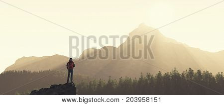 Young man up the mountain admire mountain scenery. This is a 3d render illustration