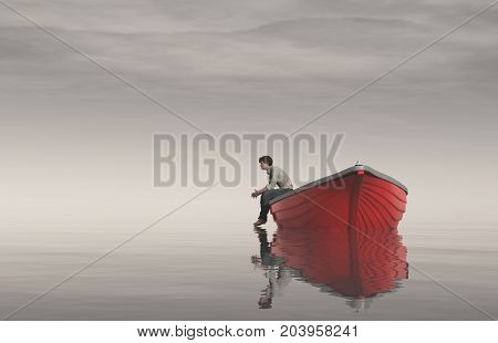 Man sits on the edge of a boats and watches lake. This is a 3d render illustration