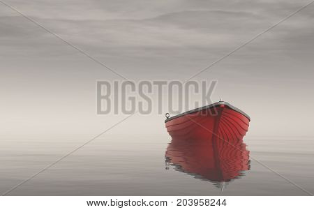 A red boat on the lake in the morning. This is a 3d render illustration