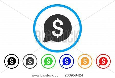 Bid icon. Vector illustration style is a flat iconic bid grey rounded symbol inside light blue circle with black, gray, green, blue, red, orange color additional versions.