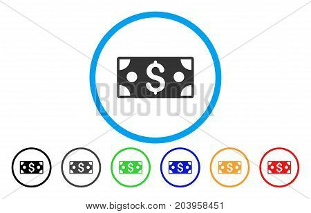 Dollar Banknote icon. Vector illustration style is a flat iconic dollar banknote gray rounded symbol inside light blue circle with black, gray, green, blue, red, orange color variants.