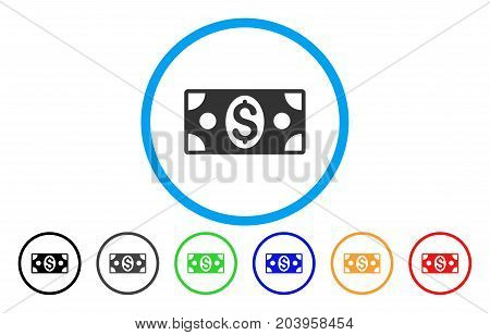 Dollar Banknote icon. Vector illustration style is a flat iconic dollar banknote grey rounded symbol inside light blue circle with black, gray, green, blue, red, orange color additional versions.