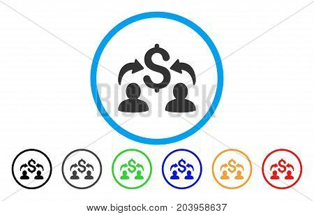 Money Changers icon. Vector illustration style is a flat iconic money changers gray rounded symbol inside light blue circle with black, gray, green, blue, red, orange color variants.