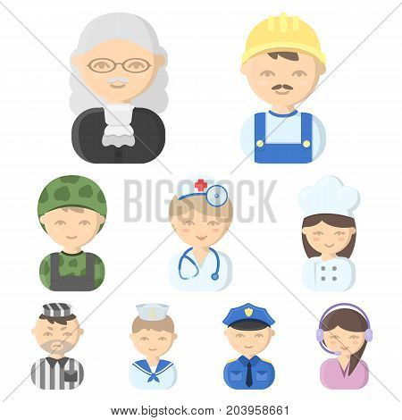 Profession set icons in cartoon style. Big collection of profession vector symbol stock