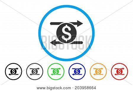 Money Exchange icon. Vector illustration style is a flat iconic money exchange grey rounded symbol inside light blue circle with black, gray, green, blue, red, orange color variants.