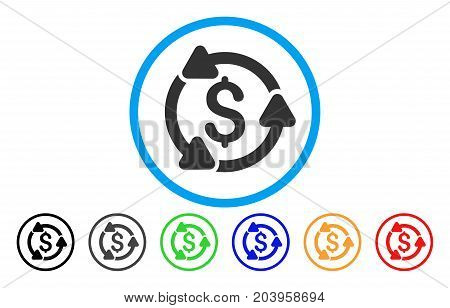 Money Turnover icon. Vector illustration style is a flat iconic money turnover grey rounded symbol inside light blue circle with black, gray, green, blue, red, orange color versions.