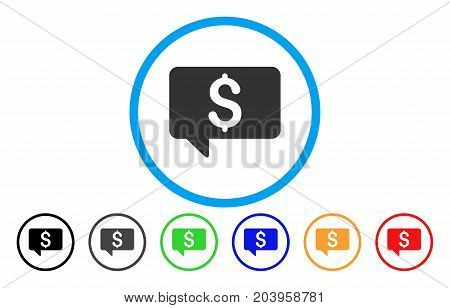 Price Message icon. Vector illustration style is a flat iconic price message grey rounded symbol inside light blue circle with black, gray, green, blue, red, orange color additional versions.