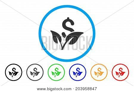 Startup Sprout icon. Vector illustration style is a flat iconic startup sprout gray rounded symbol inside light blue circle with black, gray, green, blue, red, orange color additional versions.