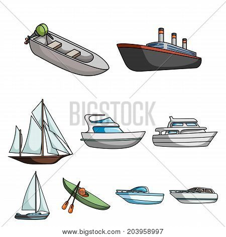 Sea transport, boats, ships. To transport people, thunderstorms. Ship and water transport icon in set collection on cartoon style vector symbol stock web illustration.