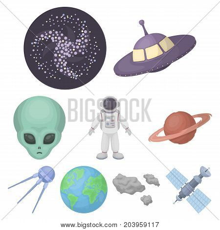 Space set icons in cartoon style. Big collection of space vector symbol stock