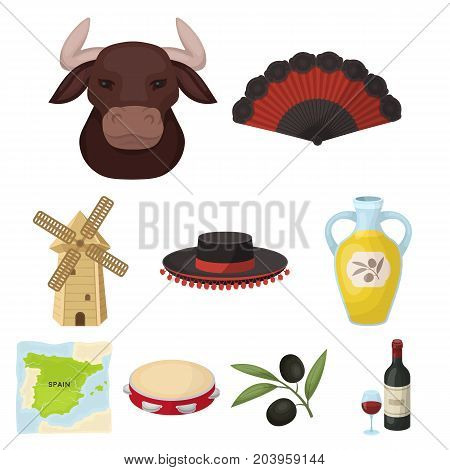 A set of pictures about Spain. Sights of Spain, gypsies, guitar, dances.Spain country icon in set collection on cartoon style vector symbol stock web illustration.