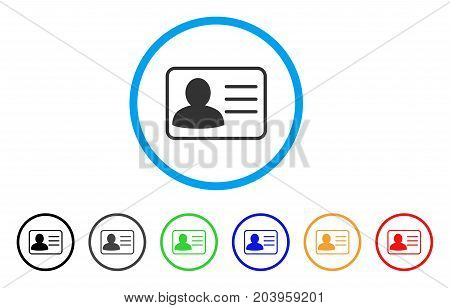 Account Card icon. Vector illustration style is a flat iconic account card gray rounded symbol inside light blue circle with black, gray, green, blue, red, orange color versions.