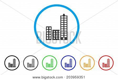City icon. Vector illustration style is a flat iconic city grey rounded symbol inside light blue circle with black, gray, green, blue, red, orange color additional versions.