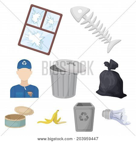 Trash and garbage set icons in cartoon design. Big collection of trash and garbage vector symbol stock illustration
