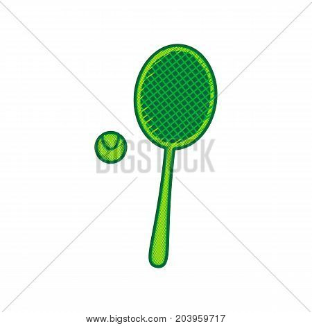 Tennis racquet with ball sign. Vector. Lemon scribble icon on white background. Isolated