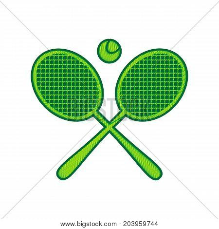 Two tennis racket with ball sign. Vector. Lemon scribble icon on white background. Isolated