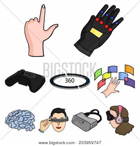 Virtual reality set icons in cartoon design. Big collection of virtual reality vector symbol stock illustration