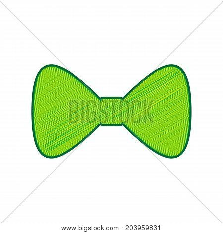 Bow Tie icon. Vector. Lemon scribble icon on white background. Isolated