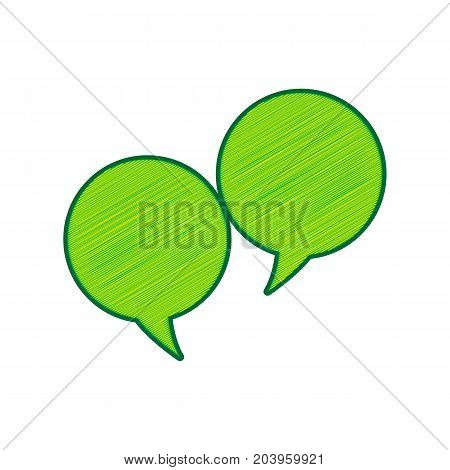 Two speech bubble sign. Vector. Lemon scribble icon on white background. Isolated