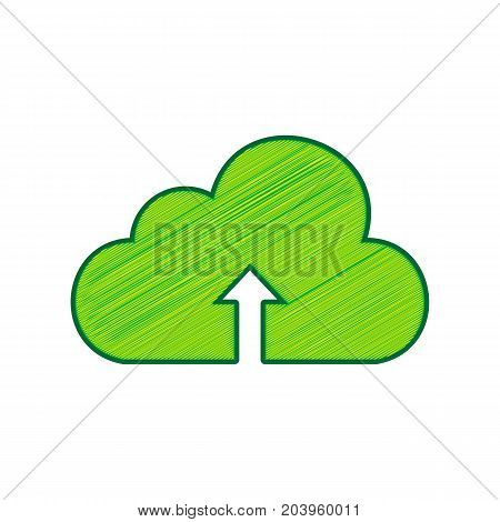 Cloud technology sign. Vector. Lemon scribble icon on white background. Isolated