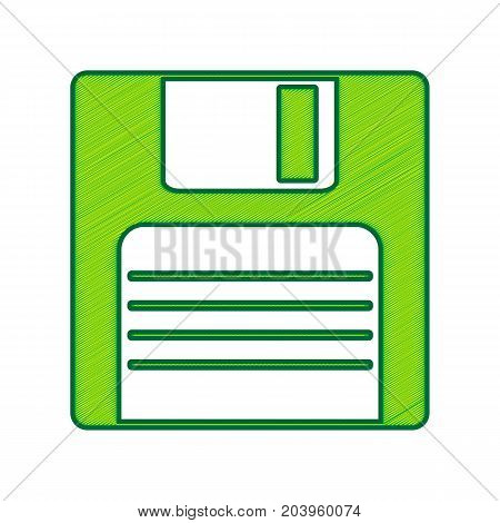 Floppy disk sign. Vector. Lemon scribble icon on white background. Isolated
