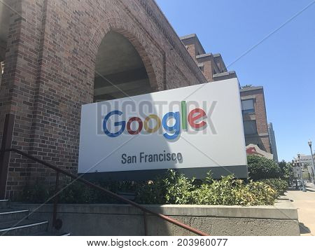 SAN FRANCISCO, CA (July 22, 2017) - The exterior of a Google office building at One Market Street in San Francisco, California. Google ranks #1 in Fortune 100's Best Places to work for the 8th time in 11 years.