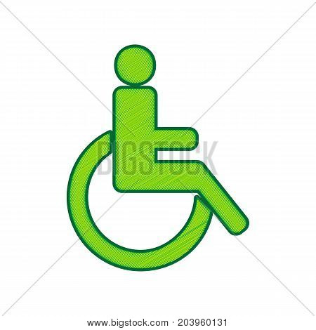 Disabled sign illustration. Vector. Lemon scribble icon on white background. Isolated
