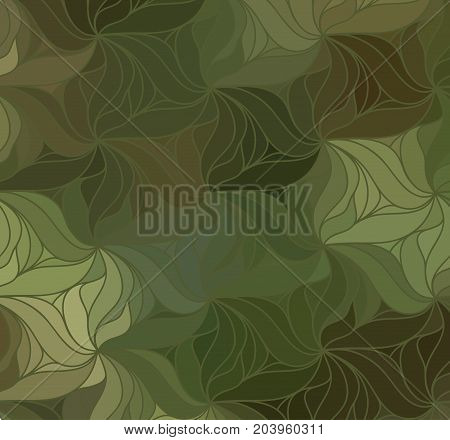Abstract wave camo background of drawn lines. Colorful leaf pattern.