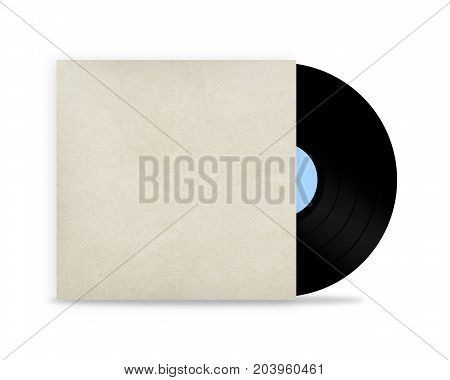 vinyl record mockup in a paper case