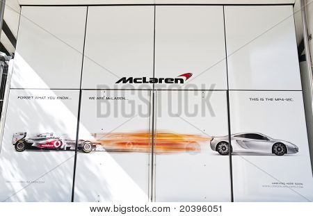 LONDON, UK - MAY 24: The McLaren showroom is shown under construction on Knightsbridge on May 24, 2011 in London, UK. The showroom will reopen with the official launch of the MP4-12C.