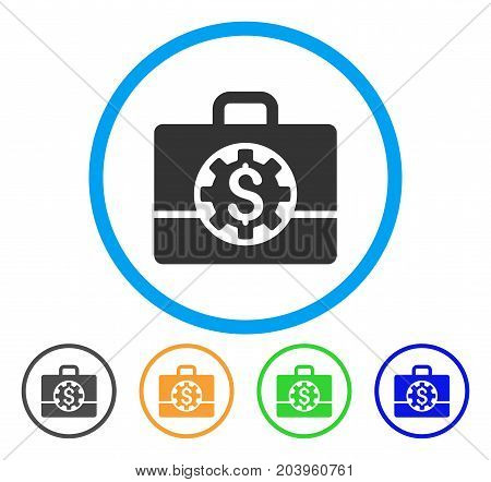 Bank Career Options icon. Vector illustration style is a flat iconic bank career options gray rounded symbol inside light blue circle with black, green, blue, yellow color variants.