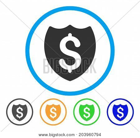 Bank Insurance Shield icon. Vector illustration style is a flat iconic bank insurance shield gray rounded symbol inside light blue circle with black, green, blue, yellow color versions.