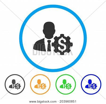 Banker Options Gear icon. Vector illustration style is a flat iconic banker options gear gray rounded symbol inside light blue circle with black, green, blue, yellow color variants.