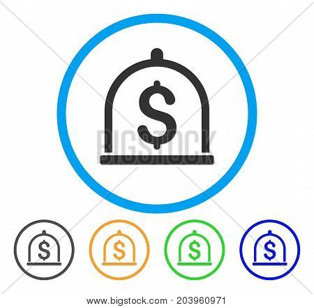 Dollar Deposit icon. Vector illustration style is a flat iconic dollar deposit gray rounded symbol inside light blue circle with black, green, blue, yellow color variants.
