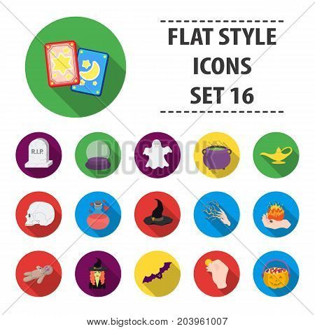 Black and white magic Building set icons in flat style. Big collection black and white magic vector symbol stock